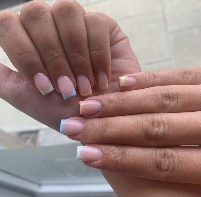 Spring trend 2021 colourful French mani